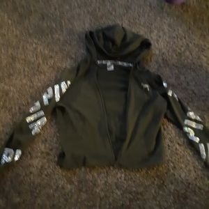 VS Pink forest green bling jacket with boyfriend s